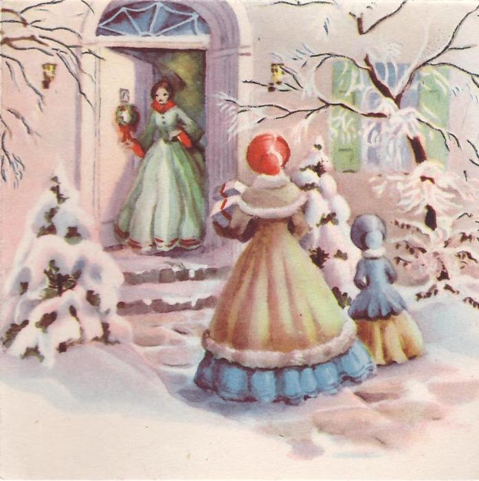 no front title, mother & child approach lady in residence doorway with gifts, snow