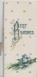 BEST WISHES(B illuminated) above bunch of forget-me-nots, striped background with scattered flowers