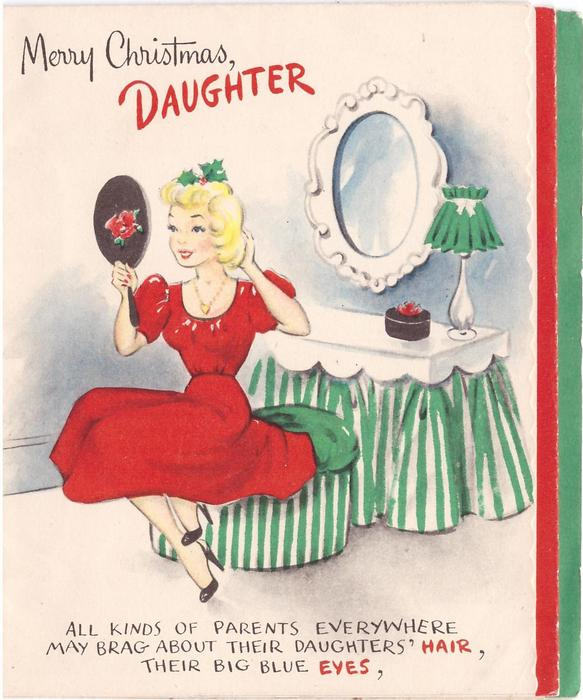 merry christmas daughter girl in red dress looks in hand mirror all kinds of parents - Merry Christmas Daughter