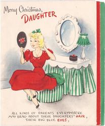 MERRY CHRISTMAS, DAUGHTER girl in red dress looks in hand mirror ALL KINDS OF PARENTS ....