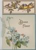DINNA FORGET in gilt below inset 4 blue-tits(bluebirds of happiness), above forget-me-nots