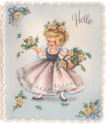 HELLO girl holds basket with holly & yellow roses, light blue background