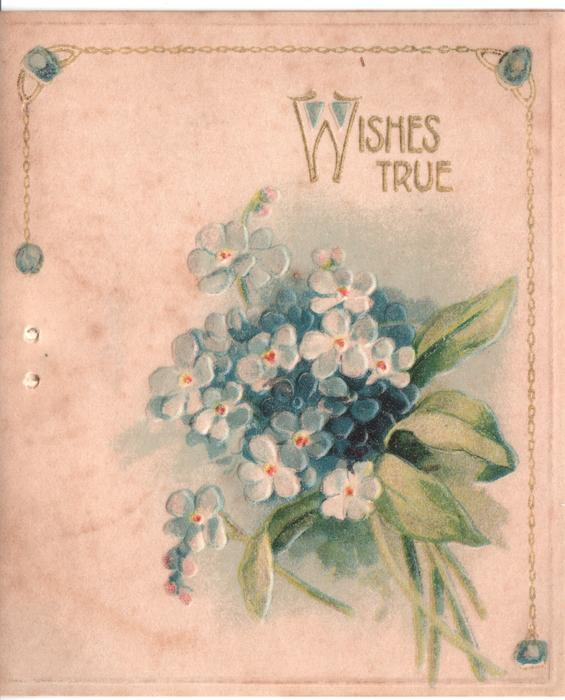 WISHES TRUE in gilt above forget-me-nots
