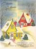 FROM OUR HOUSE TO YOUR HOUSE yellow cottage on die-cut flap, red cottage behind, snow