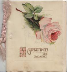 GREETINGS AND GOOD WISHES below pink rose