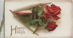 HAPPY DAYS in gilt below right, red rose & bud & evening rural inset framed with rose stems