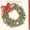 WITH LOVE AT CHRISTMAS large central wreath with red ribbon upper left & white pine cones