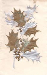 no front title, glittered gilt & silver embossed holly on cream background