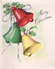 MERRY CHRISTMAS 3 bells, one red, one green & one yellow, holly sprigs atop & white ribbon