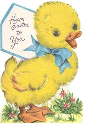 HAPPY EASTER TO YOU on white behind yellow duckling with blue ribbon