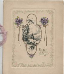 THE GOD OF PEACE BE WITH YOU below designed black/white rural inset, small bunches of pansies on each side