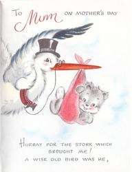 TO MUM ON MOTHER'S DAY stork carries bear HURRAY FOR THE STORK WHICH BROUGHT ME! A WISE-OLD BIRD WAS HE,