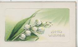 GOOD WISHES in silver, lilies-of-the-valley left