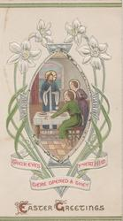 EASTER GREETINGS Jesus standing with 2 disciples at table, stylised silver narcissi around