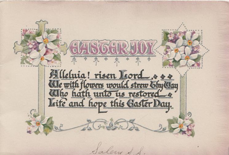 EASTER JOY in purple above verse, complex design of narcissi around