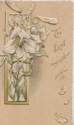 THE LORD REIGNETH    PS SCVII  lilies come through perforated inset left