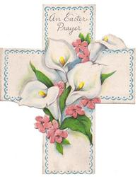 AN EASTER PRAYER white Easter lilies & pink flowers on die-cut cross, blue scalloped border with dots