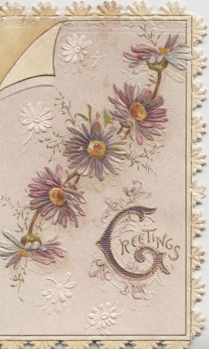 GREETINGS(G illuminated) below chain of purple daisies with yellow centres