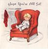 HOPE YOU'RE ALL SET toddler asleep in red armchair, red stocking left