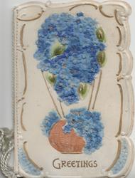 GREETINGS in gilt below forget-me-not & basket design