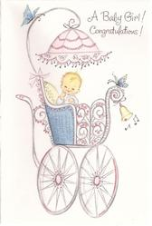 A BABY GIRL! CONGRATULATIONS! baby sits up in filigree pram, adorned with butterflies and a bell