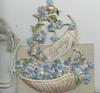 GREETINGS in gilt on white plaque in applique basket of blue forget-me-nots, adherent front cover