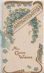 ALL GOOD WISHES in gilt below complex gilt & forget-me-not design
