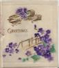 GREETINGS in gilt below primitive airplane & above rustic bridge & purple violets