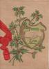 FRIENDS EVER above & below hands on gilt bordered plaque, berried holly around, fawn background