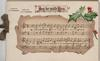JOY BE WITH YOU on white plaque, berried holly right,  musical score & words below