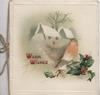 WARM WISHES in red beside English robin perched on berried holly, cottage in snowy winter rural scene right