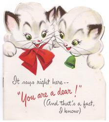 "IT SAYS RIGHT HERE -- ""YOU ARE A DEAR!"" (AND THAT'S A FACT, I KNOW) below 2 die-cut kittens"