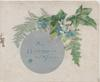 ALL HAPPINESS BE YOURS on silver circular plaque, ivy, fern & forget-me-nots upper right