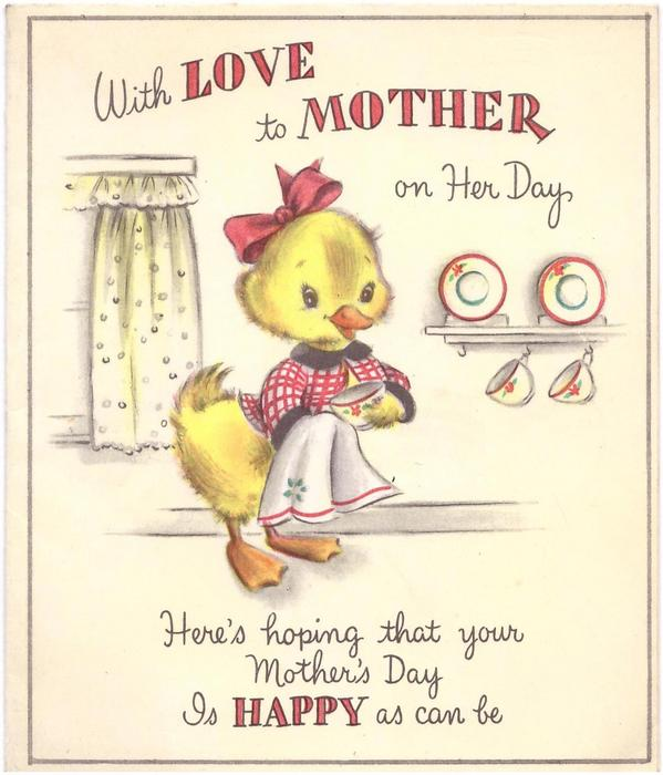 WITH LOVE TO MOTHER ON HER DAY, above dressed duck with cup & tea towel, verse below