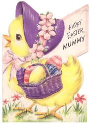 HAPPY EASTER MUMMY chick facing left wears purple bonnet with cherry blossoms & carries basket with decorated eggs