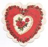 FOR YOU FROM ME red, rosed lined heart with white heart & 2 roses centre, white doily-like background