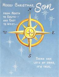 MERRY CHRISTMAS SON yellow compass on blue FROM NORTH TO SOUTH -- AND EAST TO WEST THERE ARE LOTS OF SONS, IT`S TRUE