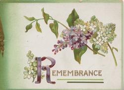 REMEMBRANCE(R illuminated) in gilt below purple & white lilac