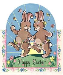 HAPPY EASTER 2 rabbits, wearing flowers around waists, hold hands, floral border