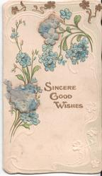 SINCERE GOOD WISHES in gilt, various forget-me-nots