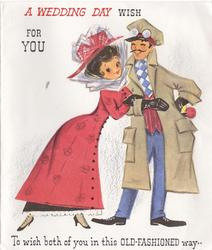 A WEDDING DAY WISH FOR YOU above woman in red leaning on man's arm TO WISH BOTH OF YOU IN THIS OLD-FASHIONED WAY