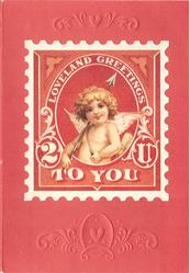 LOVELAND GREETINGS TO YOU cupid in die-cut postal stamp on red embossed backing