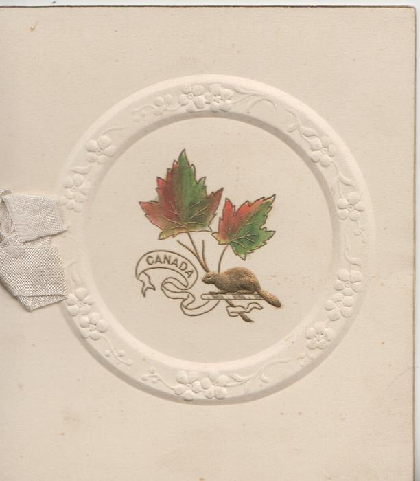 CANADA on white plaque below maple leaves & beaver in embossed white circle