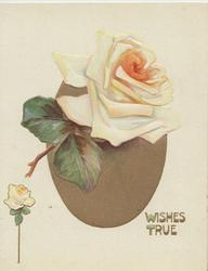 WISHES TRUE in gilt below orange/yellow rose in front of brown oval inset
