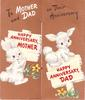 TO MOTHER AND DAD ON THEIR ANNIVERSARY 2 rabbits each with sign HAPPY ANNIVERSARY, MOTHER & HAPPY ANNIVERSARY, DAD