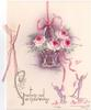 GREETINGS AND ALL GOOD WISHES, imps pull on ribbon holding up heavily embossed basket of roses enclosed with pot pourri
