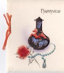 HAPPINESS heavily embossed black vase with dragon, enclosed with pot pourri, string of beads with flower front, ribbon left