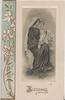 BLESSINGS below Mary seated with Jesus standing on her knee, lilies right & in left border design