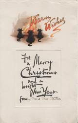 WARM WISHES in red, 3 black cats lie facing flaming fire, FOR A MERRY CHRISTMAS AND A BRIGHT NEW YEAR    FROM