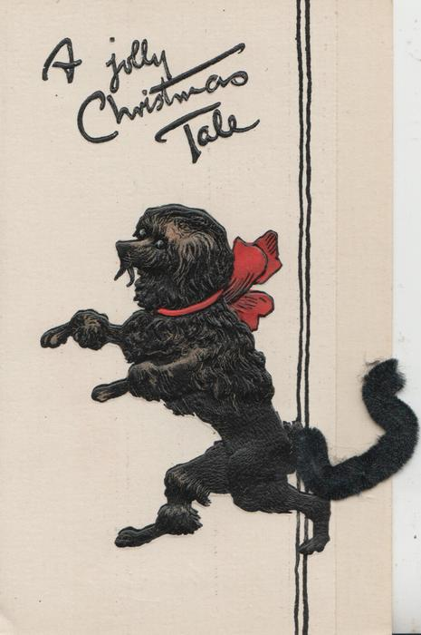 A JOLLY CHRISTMAS TALE black poodle with applique tail, walking on hind legs